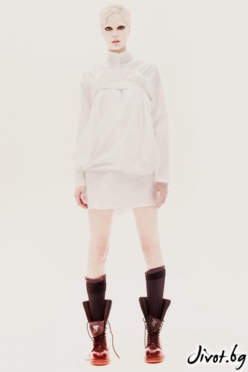 Бяла асиметрична памучна риза / Maria Queen Maria