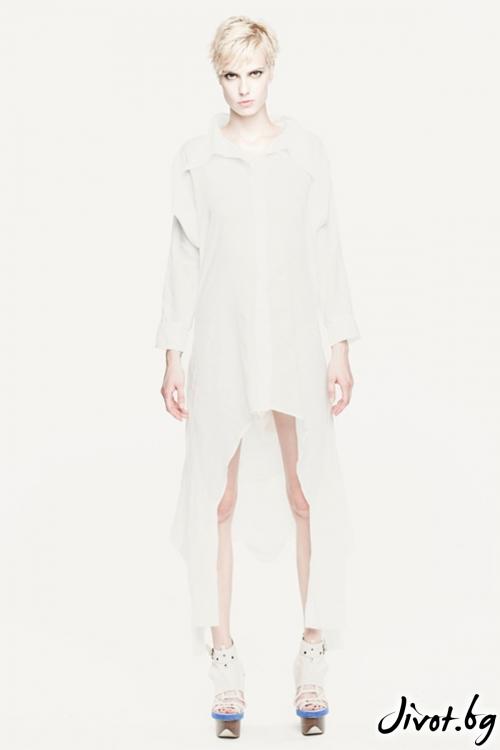 Бяла памучна асиметрична риза с двойни ръкави / Maria Queen Maria