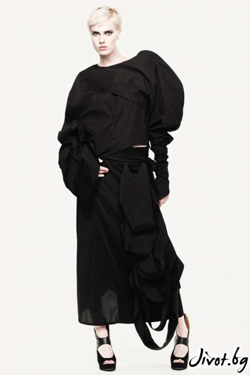 Черна асиметрична памучна риза / Maria Queen Maria