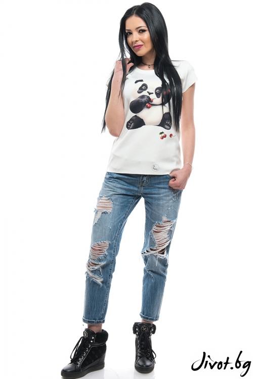 """Дамска тениска с дизайнерски принт """"Панда"""" / MyMagenta"""