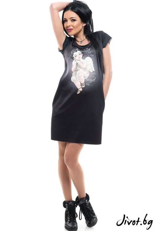 Черна рокля с къс ръкав и скрити джобове ANGEL / MyMagenta