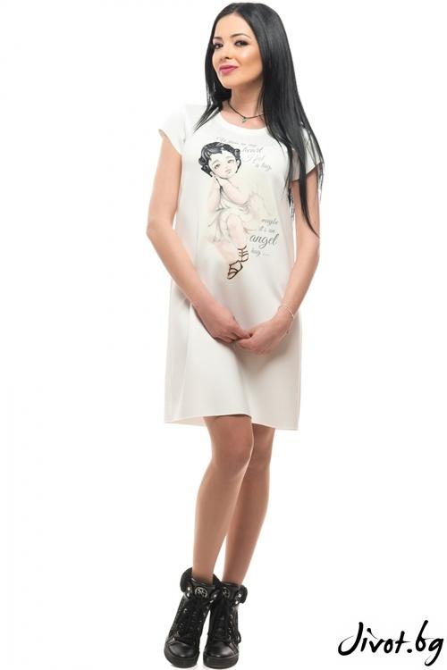 Красива бяла рокля с къс ръкав ANGEL / MyMagenta