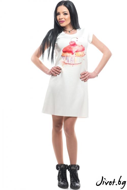 """Бяла рокля с дизайнерски принт и къс ръкав """"Кексче"""" / MyMagenta"""