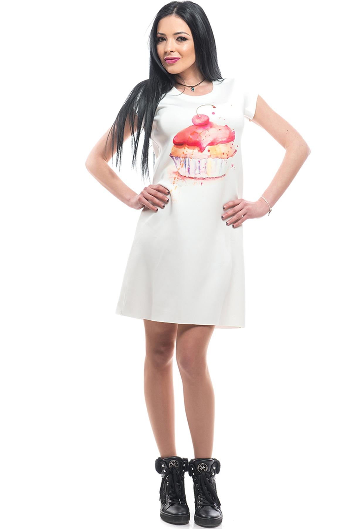 Красива бяла рокля с къс ръкав Кексче / MyMagenta