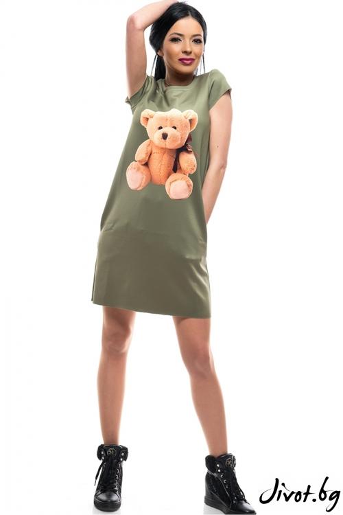Красива рокля с къс ръкав Мече / MyMagenta
