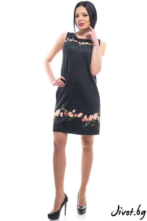 Къса черна рокля с флорален мотив / MyMagenta