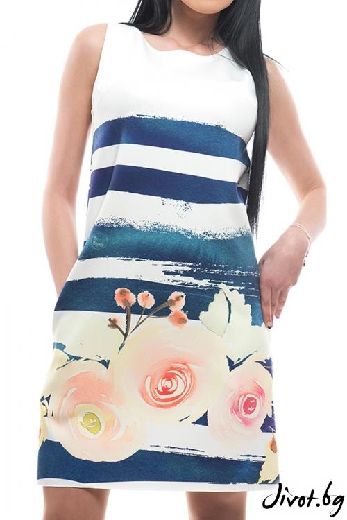 Красива рокля с цветя и джобове / MyMagenta