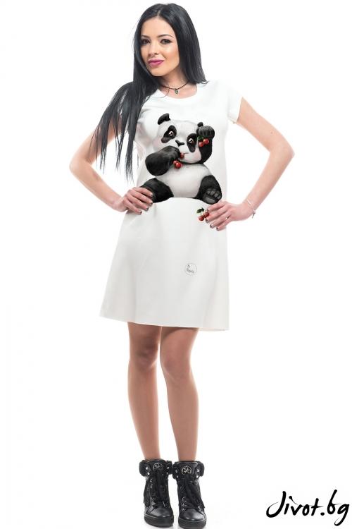 "Къса бяла рокля с дизайнерски принт ""Панда"" / MyMagenta"