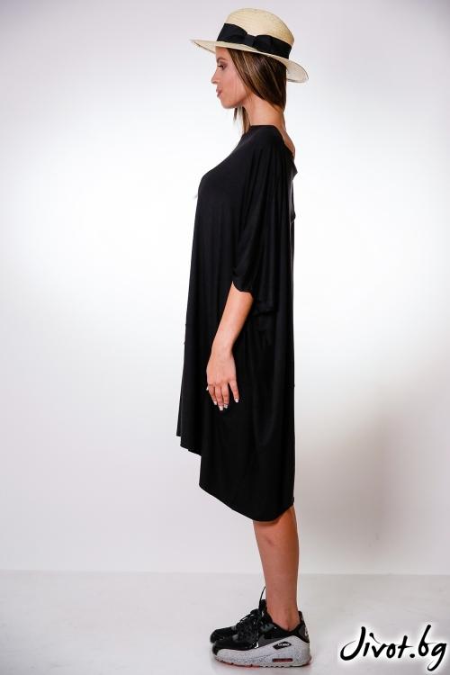 Дамска асиметрична черна рокля / M2V