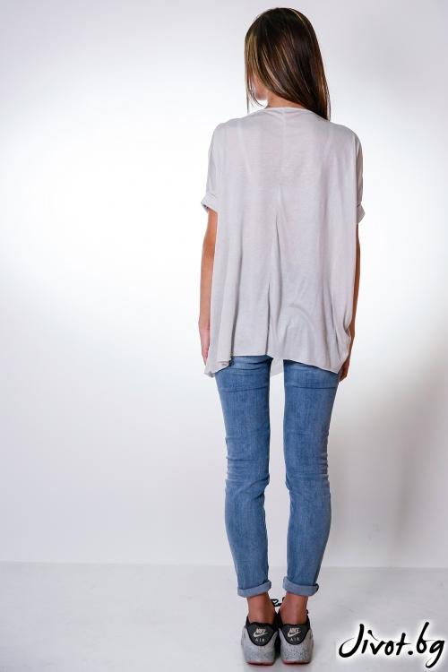 Асиметрична сива блуза / M2V