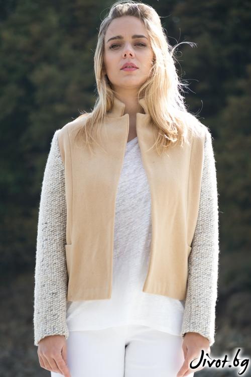 Красиво дамско сако с контрастни ръкави / M2V