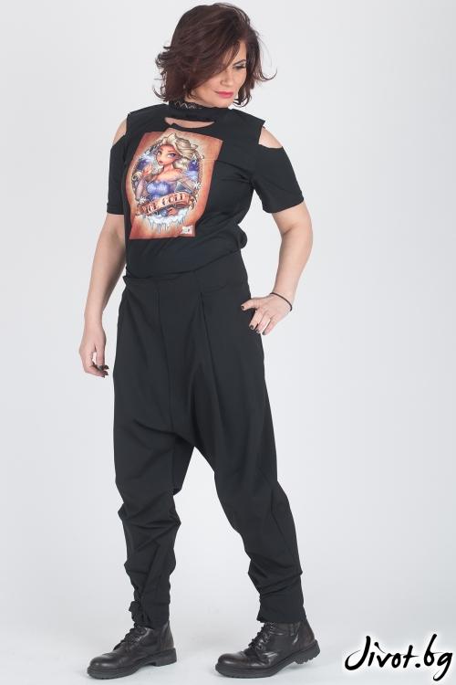 Черна блуза с принт / Модна История