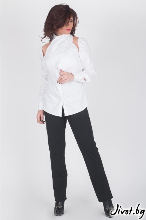Бяла дамска риза с голи рамене / Модна История