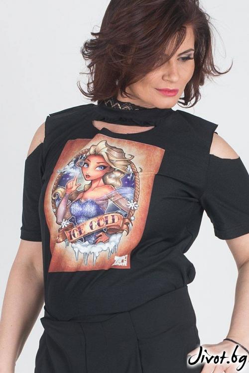 """Черна дамска тениска """"Ice cold"""" / Модна История"""