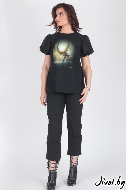 """Черна дамска блуза """"Angel"""" / Модна История"""