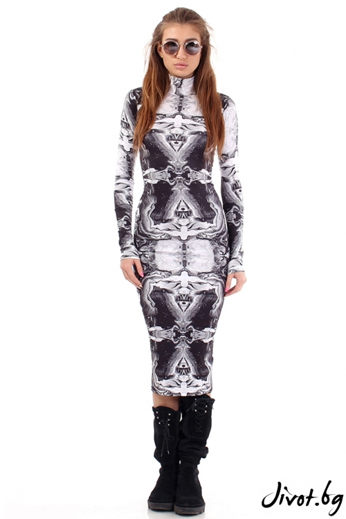 Еластична рокля с абстрактен принт / Cherry You