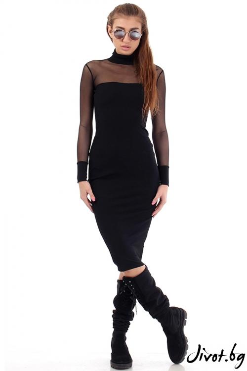 Красива черна рокля с тюл / Cherry You
