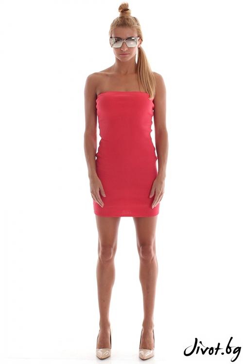Червена къса рокля от стегнат памучен рипс / Cherry You
