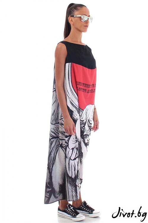 Дълга ефирна рокля с принт ангел / Cherry You