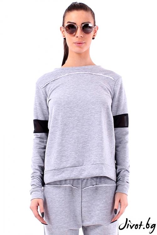 Спортна блуза от вата с гръб от шифон солей / Cherry You