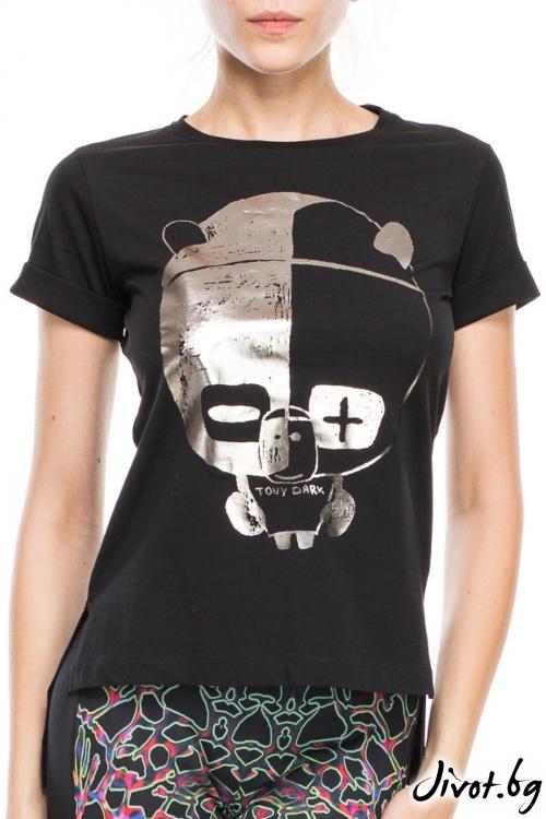 Черна дамска тениска с принт панда / TONI DARK