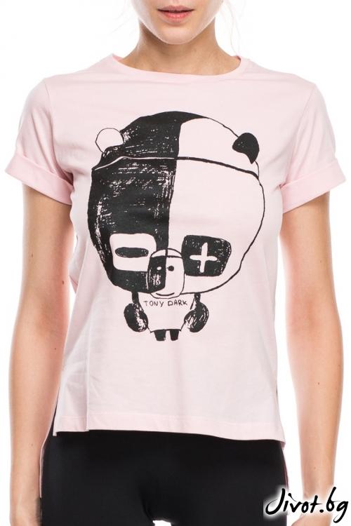 Розова дамска тениска с принт панда / TONI DARK