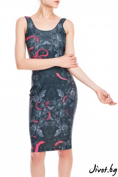 Черна дамска рокля с принт змия / TONI DARK