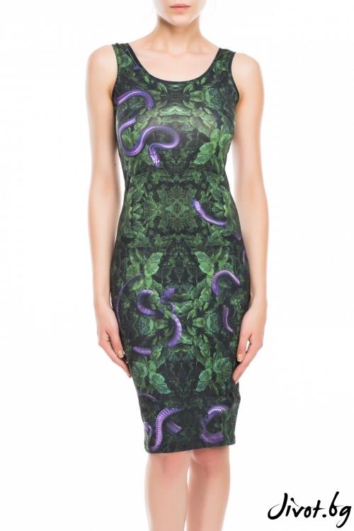 Зелена дамска рокля с принт змия / TONI DARK