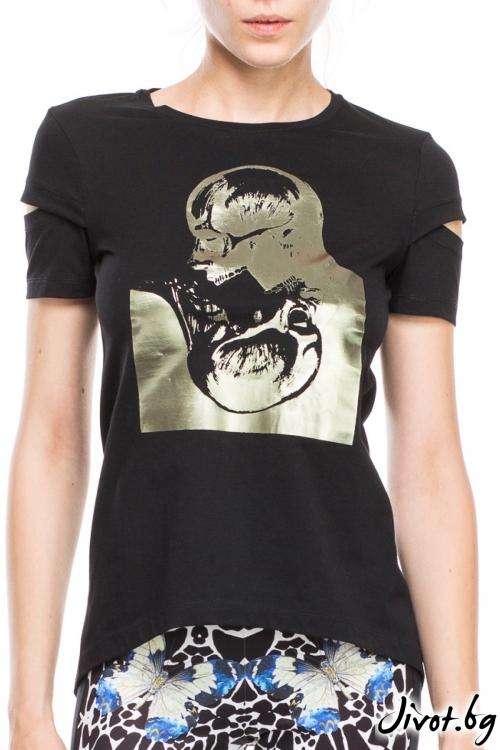 Черна дамска тениска с принт черепи / TONI DARK
