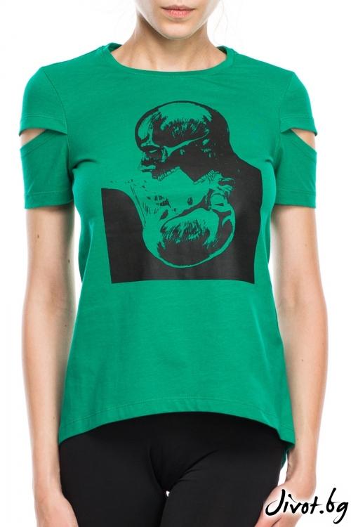 Зелена дамска тениска с принт черепи / TONI DARK