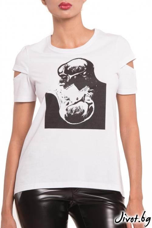 Бяла дамска тениска с принт черепи / TONI DARK