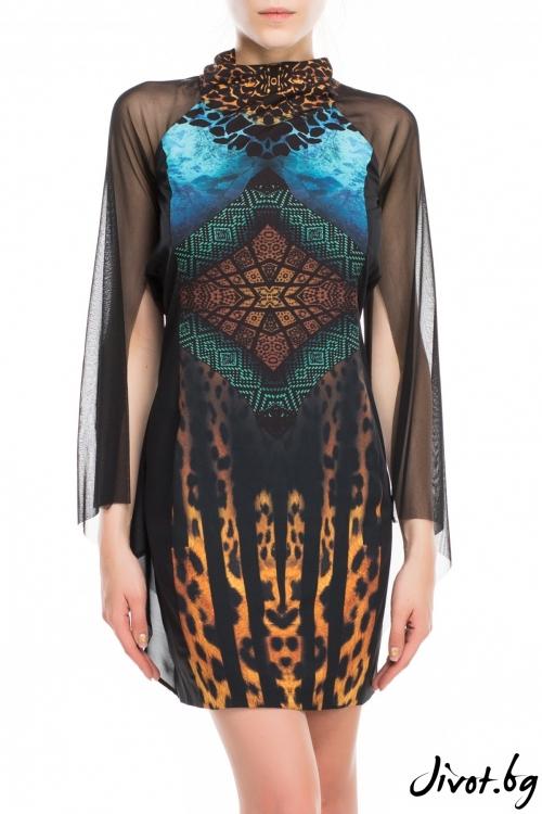 Елегантна синя рокля с принт леопард / TONI DARK