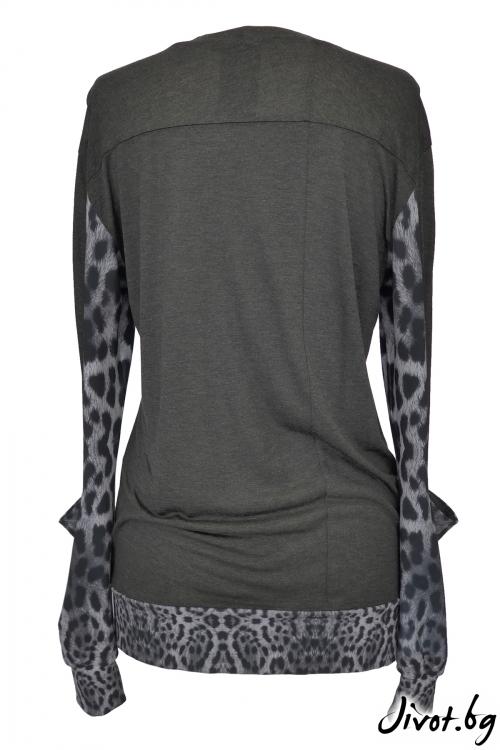 Сива дамска блуза с принтирани ръкави / TONI DARK