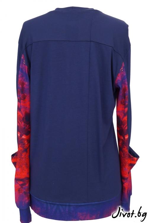 Синя дамска блуза с принтирани ръкави / TONI DARK