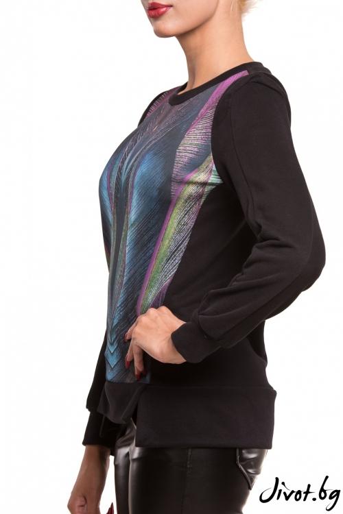 Блуза с дълъг ръкав и абстрактен принт / TONI DARK