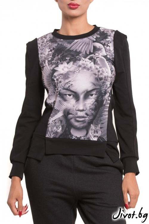 Дамска блуза с дълъг ръкав и принт гейша / TONI DARK