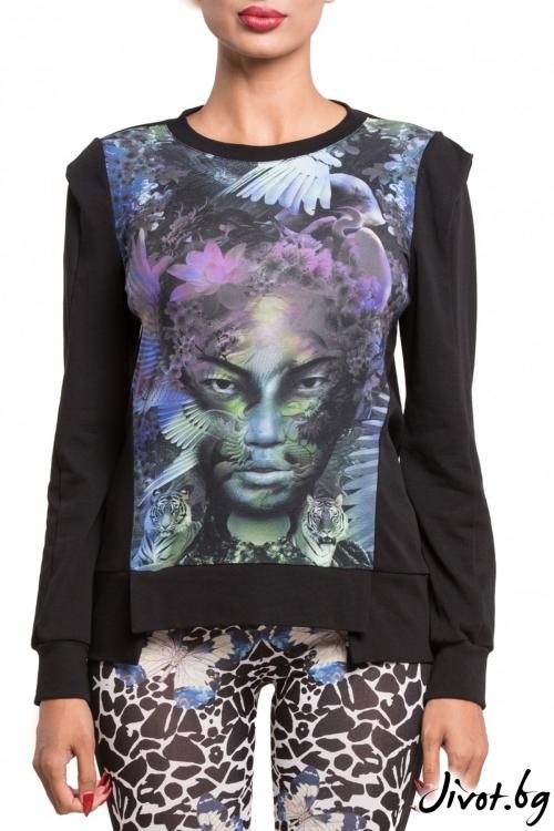 Блуза с принт гейша и цветен акцент / TONI DARK