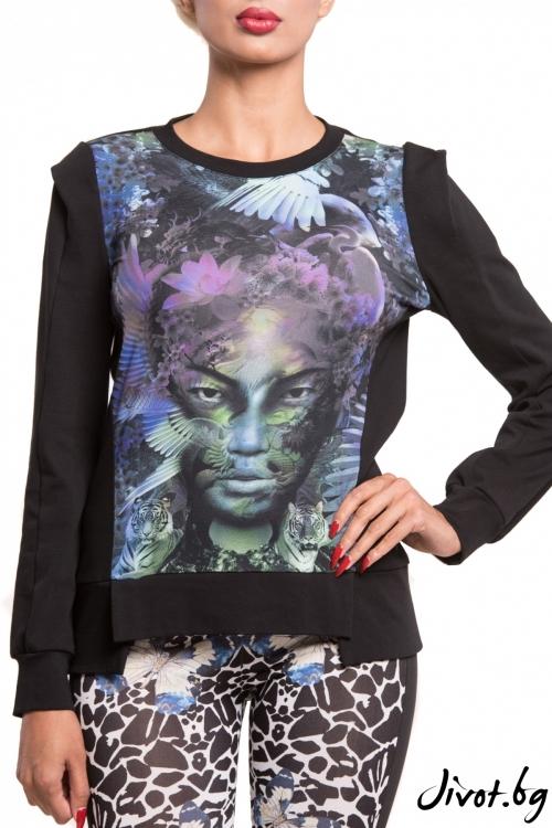 Блуза с дълъг ръкав и принт гейша / TONI DARK