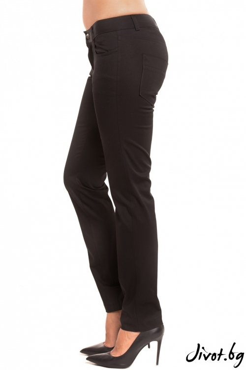 Дамски слим фит черен панталон / TONI DARK