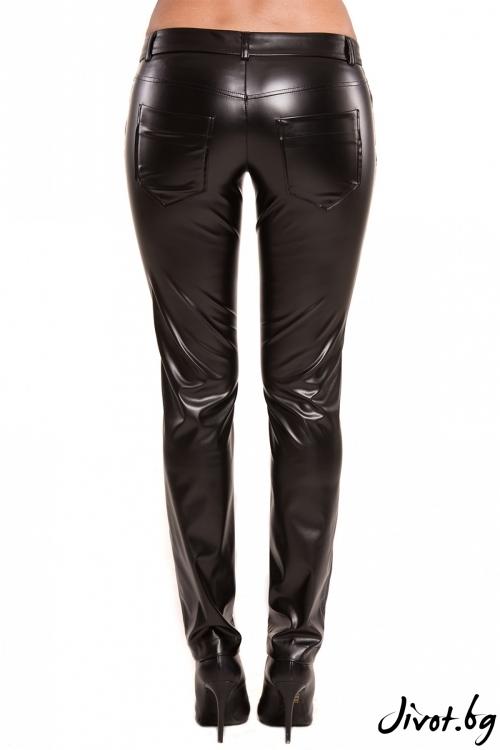Дамски слим фит кожен черен панталон / TONI DARK