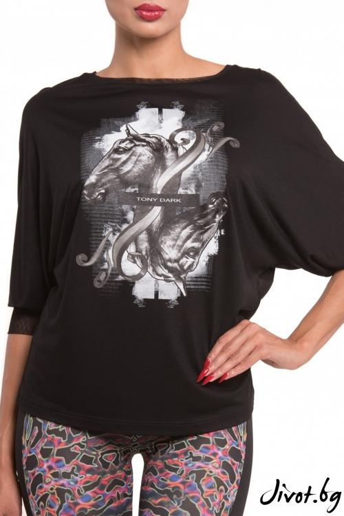 Черна блуза с кимоно ръкави / TONI DARK