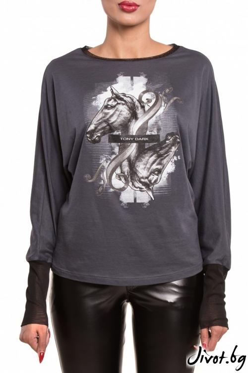 Сива блуза с кимоно ръкави / TONI DARK