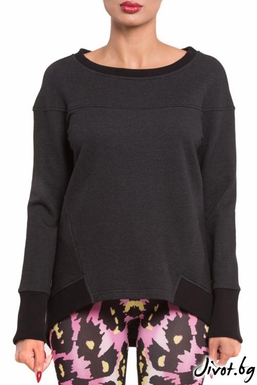 Изчистена тъмносива дамска блуза / TONI DARK