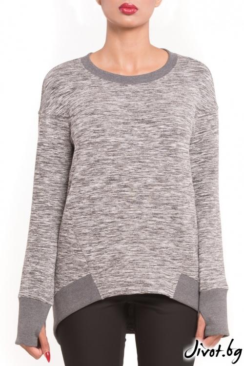 Изчистена сива дамска блуза / TONI DARK