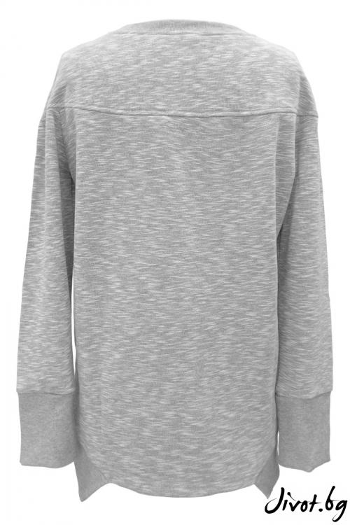 Изчистена светлосива дамска блуза / TONI DARK