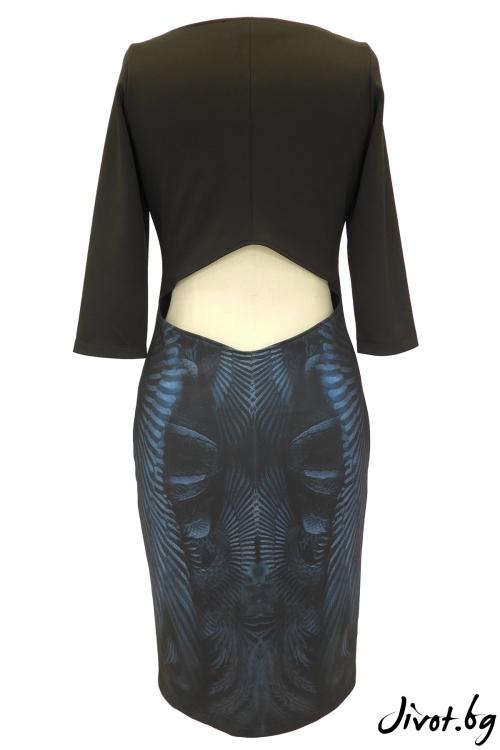 Дамска рокля с отвор в гърба и принт / TONI DARK