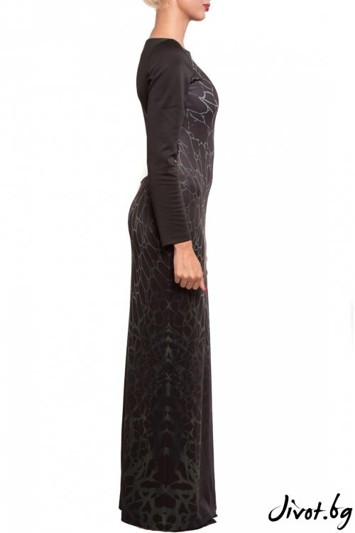 Зелена дамска рокля с отвор в гърба и цепка / TONI DARK