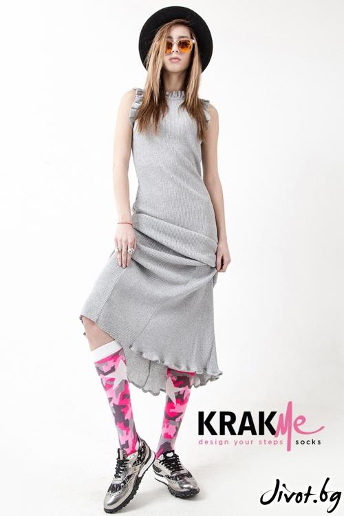 Три-четвърти дамски чорапи Military Star Pink / Krak me
