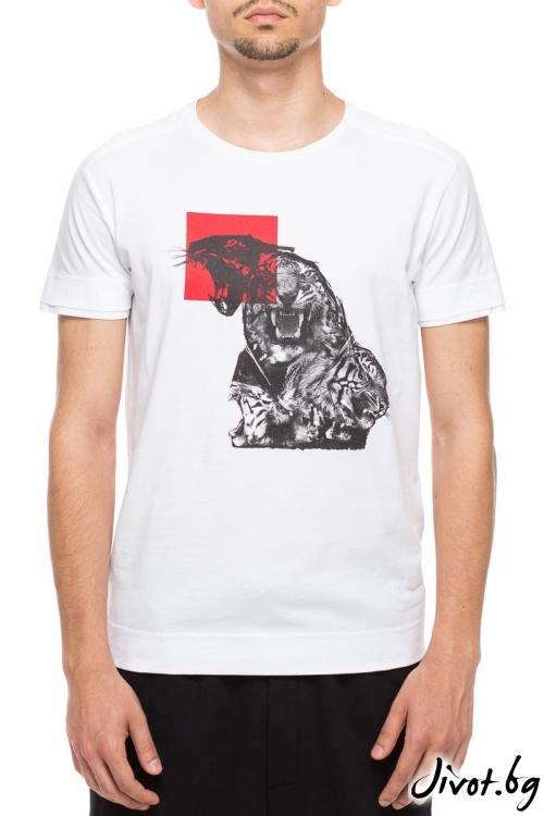 Бял мъжки тишърт с принт тигър / TONI DARK