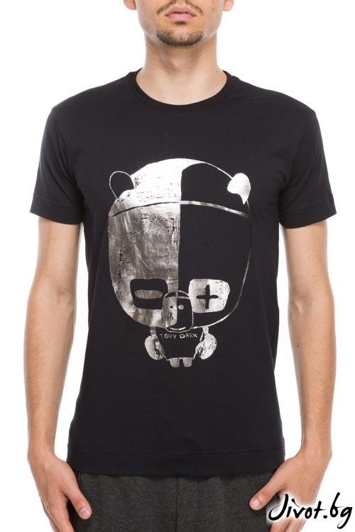 Черен мъжки тишърт с принт панда / TONI DARK